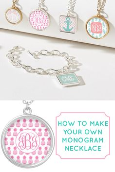 Make your own monogram necklaces! Click through to view the tutorial from printablemonogram.com #diy #monogram