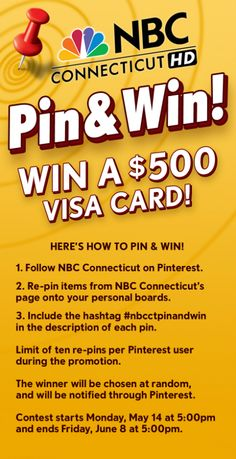 #nbcctpinandwin Pin and Win!  Don't forget, you can be entered up to 10 times for the $500 gas card by pinning NBC Connecticut pins!