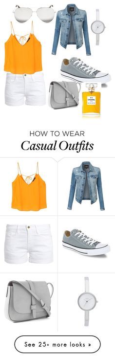 """casual orange white and grey"" by tori-bug on Polyvore featuring Frame, Converse, MANGO, LE3NO, DKNY, Victoria Beckham, Chanel and Gap"