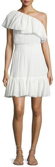 Rebecca Taylor One-Shoulder Tiered Gauze Dress, White