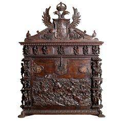 Fine & Large Spanish Carved Oak Vargueno | From a unique collection of antique and modern desks at https://www.1stdibs.com/furniture/storage-case-pieces/desks/