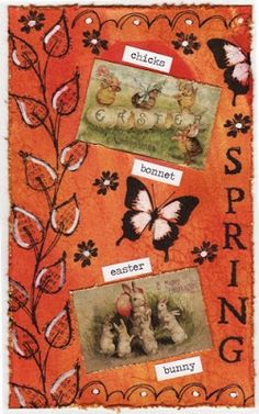 Art journal page created with Dylusions sprays, Distress Inks and Tim Holtz words and stickers