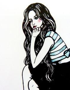 Miss Macaroon Fashion Illustration Art by RFeneleyIllustration