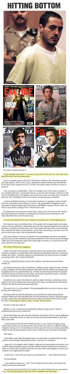 Robert Downey Jr. and the kindest act…   Way to make me tear up, RDJ.  Way to go.