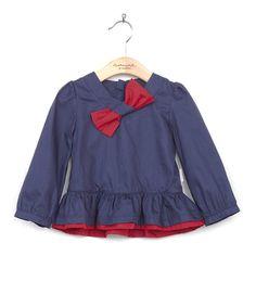 Navy & Burnt Red Bow Neck Tunic - Toddler & Girls $19.50
