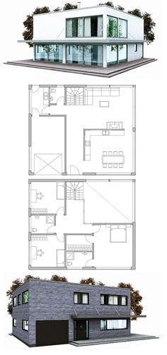 Modern Contemporary home plan, three bedrooms, garage, nice open living areas, abundance of natural light.