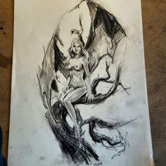 Dragongirl sketches sketch eskiz charcoal