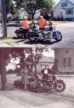 Clara Mayer and Adline VanVlanderen of Cudahy, Wisconsin, pose in the 1940s and in 2003. #harleywomen