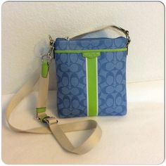 "Spotted while shopping on Poshmark: ""Coach Signature Stripe swingpack crossbody""! #poshmark #fashion #shopping #style #Coach #Handbags"