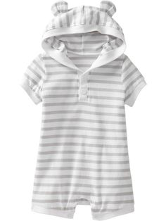 Old Navy | Hooded Short One-Pieces for Baby  Grey or blue