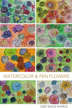Watercolor-And-Pen-Flower-Gallery easy art lessons, art lessons elementary Classroom Art Projects, School Art Projects, Art Classroom, Easy Art Lessons, Art Lessons Elementary, First Grade Art, Third Grade, Sixth Grade, Spring Art Projects