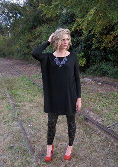 Womens Black Piko Style Tunic Top - Dresses | Greta Blu Boutique