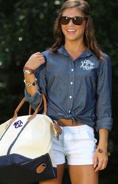 Cute monogram denim blouse + white sports + accessories..