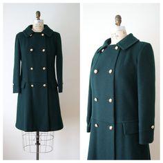 60s Wool Coat. Vintage Mod Jacket. Women's Winter Coat. Dark Emerald Green. Small / Medium.