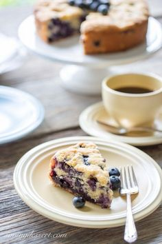 "Blueberry Breakfast Cake - a deliciously moist and lightly sweet ""coffee"" cake bursting with fresh juicy blueberries"