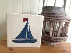 Sailboat Painted Wood Sign  Painted Boat  by VeganArtByTafida