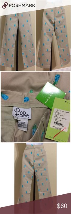 Lilly Pulitzer Capris Size 2 Lilly Pulitzer Women's Capris, Cropped Pants Size 2 Beige, Blue & Green Colors Beige Base With Blue & Green Embroidered Pineapple Design Front Zip 1 Hidden Metal Clasp Closure 2 Front Pockets 1 Rear Pocket With Button Closure Belt Loops Stretch Machine Washable 97% Cotton 3% Spandex Inseam Approx. 24 Inches Rise Approx. 9 Inches Waist Approx. 27 Inches Hips Approx. 34 Inches Cuff Approx. 16 Inches Compare Measurements To Your Own Well Fitting Garment To Ensure A…