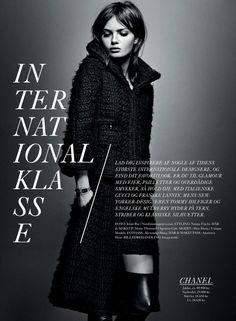Magazine layout / Editorial design / Moa Aberg shot by Jonas Bie for Eurowoman December 2013