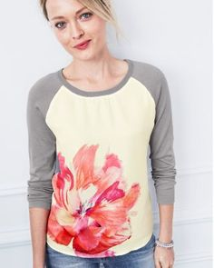 Printed Silk-Front Pullover