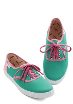 Super-bright Future Sneaker. Lace up these bright canvas sneakers from Victoria and step right onto your chosen path! #green #modcloth