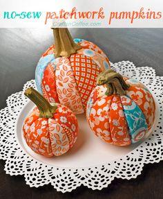 Orange & aqua for Halloween? It's a little unconventional, but I adore my orange & aqua No-Sew Patchwork Pumpkins. I was inspired to DIY my pumpkins after Patty Schaffer shared her Plaid Pu...