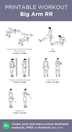 Big Arm RR:my visual workout created at WorkoutLabs.com • Click through to customize and download as a FREE PDF! #customworkout