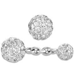 Invisible Set Diamond Ball Cufflinks | Jacob & Co. - 18k white gold set 26.00ct diamonds