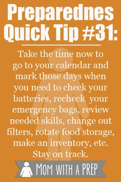 Preparedness Quick Tip #31: Use a calendar to keep yourself on track with preparedness goals all year long | Mom with a PREP
