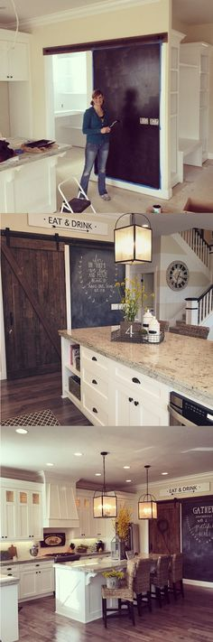 Awesome antique barn door and chalkboard wall in Yellow Prairie Interiors' kitchen! You can easily hang a door like this with box rails and metal hangers -- click to buy all the hardware