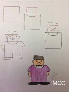 Kids friendly drawings with squares as a base Easy Drawings For Beginners, Easy Drawings For Kids, Art For Kids, Simple Drawings, Person Drawing, Guy Drawing, Drawing Ideas, Drawing Lessons For Kids, Art Lessons