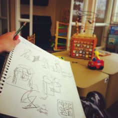 Day 36 draw out in public. Kids and toys in waiting room.  #everydaydrawingchallenge #eddc #sketchbooking #drawing #sketching #sketchaday #artshare #arteveryday #artistsoninstagram #artoftheday #dailysketch #blackwoodcottageart #kidsplaying #toys #momlife #instamoment #instamom #arteverywhere