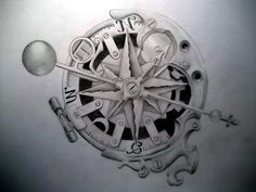 """I want this compass tattoo with the words """"Cosmos Mariner"""" embedded somewhere in the design. Also, a butterfly perched upon the upper right of the compass. and a ladybug crawling on it somewhere. (many meanings for all of these different things)"""