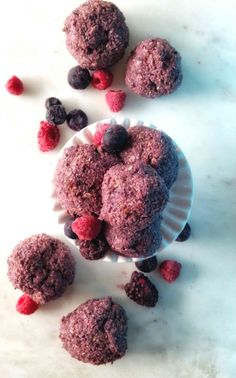 No bake vanilla berry energy bites - these are super fun and easy to make, healthy, vegan, and sweetened naturally with just four ingredients! The perfect summer snack