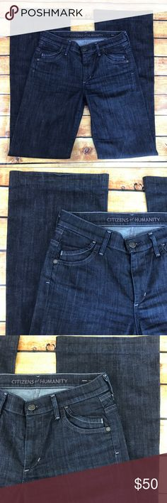 """Citizens of Humanity Hutton Dark Jeans Size 27 Citizens of Humanity Hutton Dark Wash Jeans. These jeans are a medium rise wide legged pant. Size 27. Preloved but in great condition! Made of 98% cotton and 2% elastan. The waist flat across measures approximately 15"""" and inseam measures approximately 34"""". Leg opening is approximately 10-1/4"""" flat across. All measurements are taken while the garment is laying flat and are approximate! Please let me know if you have any questions. Citizens Of…"""