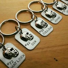 Hand Stamped Personalized Football Keychain - Football Team Gift - Football Mom…