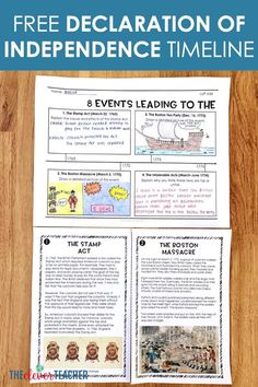 In this free lesson, students learn about 8 key events leading to the Declaration of Independence by reading task cards around the room and answering prompts on a timeline. 7th Grade Social Studies, Social Studies Worksheets, Social Studies Activities, Teaching Social Studies, Teaching Career, History Activities, Teaching Us History, Teaching American History, American History Lessons