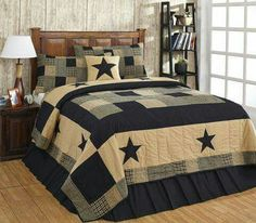 Patchwork Quilt Set King Size Patchwork Black Tan Star Country Primitive Bedding for sale online Country Bedding Sets, Farmhouse Bedding Sets, Farmhouse Quilts, Country Quilts, Queen Bedding Sets, Rustic Farmhouse, Comforter Sets, Rustic Bedding, Farmhouse Style