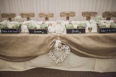 Place Name Black Board Top Table Labels Handmade Rustic Hessian Lace Marquee Wedding http://www.sallytphotography.com/