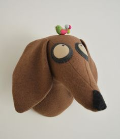 Tan Dachshund trophy, dog trophy head, fabric trophy head, dog faux taxidermy, dog head, Dachshund, Knitwangling Heads by Knitwangling on Etsy