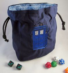 New dice bag company! Crochet Geek, Dice Bag, Needle And Thread, Tardis, My Bags, Drawstring Backpack, Geek Stuff, Trending Outfits, Playing Dice