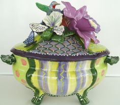"""Soup Tureen with Orchids and a Hummingbird 14""""W X 14""""H. Not a teapot, but it still belongs here."""