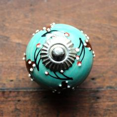 Drawer Knob / Cabinet Pull Ceramic Ball in Aqua with by DaRosa, $7.00
