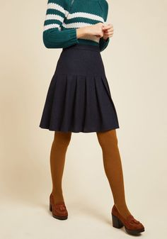 Preppy Stepping Skater Skirt. With a latte in hand and a smile on your face, you put some skip in your step by flaunting this navy blue skirt across campus. #blue #modcloth