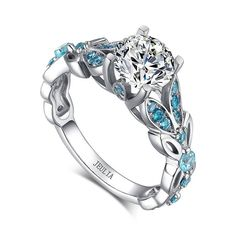 Fresh Butterfly Shape Brilliant Cut Created White Sapphire with Aquamarine Sidestone Rhodium Plating 925 Sterling Silver Engagement Ring Set