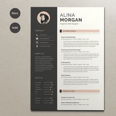 Resume Alina by Estartshop on Printable Resume template examples creative design and great covers, perfect in modern and stylish corporate business. Modern, simple, clean, minimal and feminine ready to print layout inspiration to grab some ideas. Resume Design Template, Best Resume Template, Cv Template, Design Resume, Design Templates, Cover Letter For Resume, Cover Letter Template, Modern Resume, Simple Resume
