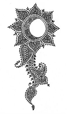 lotus sun moon henna tattoo also great inspiration for Zentangle Tattoo Mond, Et Tattoo, Henna Tattoos, Tatoos, Sun Tattoos, Lace Tattoo, Tattoo Black, Mehndi Designs, Tattoo Designs