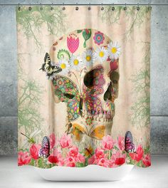 Sugar Skull Shower Curtain Day Of The Dead Retro by FolkandFunky