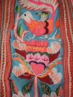 Hmong Embroided Folk Art Tribal Textile Panel