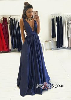V-Neck Long Floor-Length Gorgeous Sleeveless Prom Dress