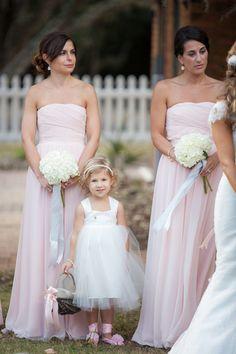 #Bridesmaids by #BillLevkoff | See the wedding on http://www.StyleMePretty.com/north-carolina-weddings/bald-head-island/2014/01/15/romantic-pink-green-wedding-at-bald-head-island-club/ Theo Milo Photography